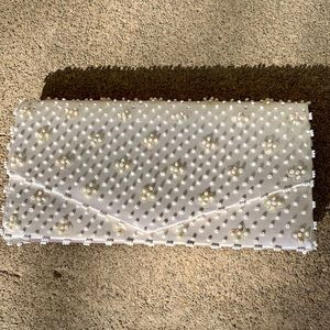 Vintage Beaded White Evening Clutch